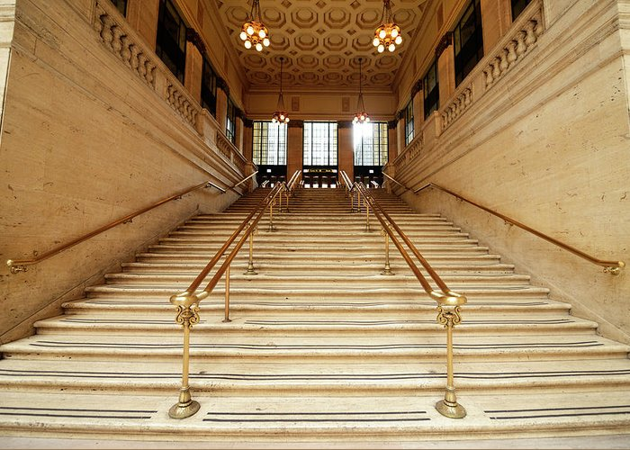 Steps Greeting Card featuring the photograph Subway Station Staircase,chicago by Lisa-blue