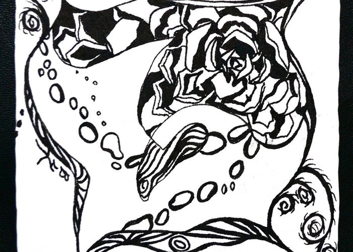 Zentangle Greeting Card featuring the drawing Succulent Stream Of Consciousness by Beverley Harper Tinsley