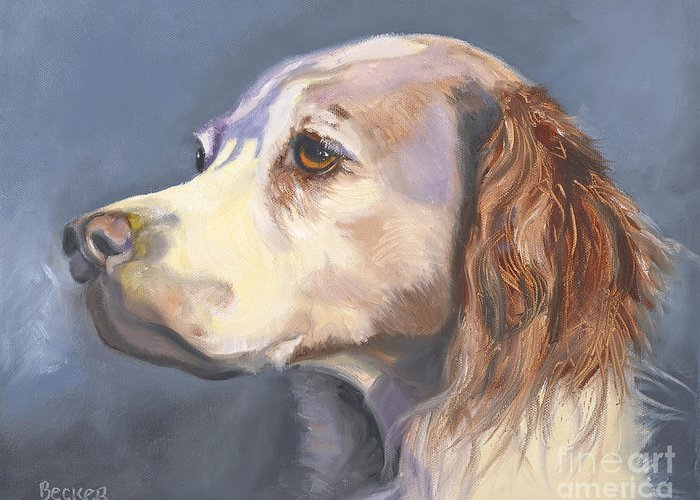 Spaniel Greeting Card featuring the painting Such A Spaniel by Susan A Becker
