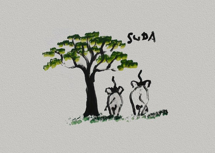 Suda Greeting Card featuring the painting Suda Grey Canvas by Colin Smeaton