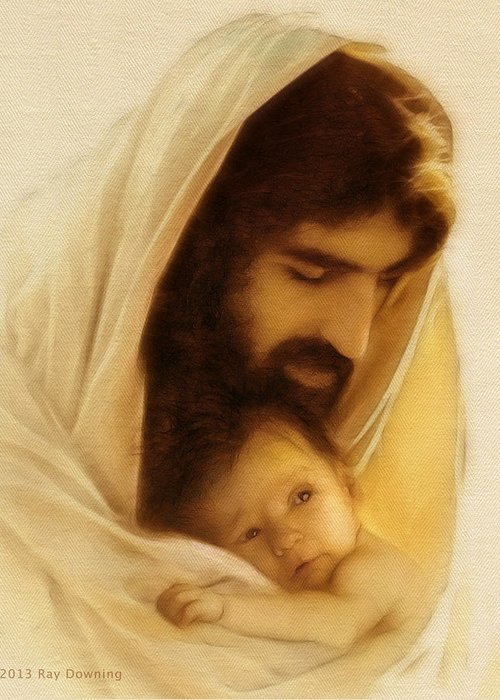 Jesus Greeting Card featuring the digital art Suffer The Little Children by Ray Downing