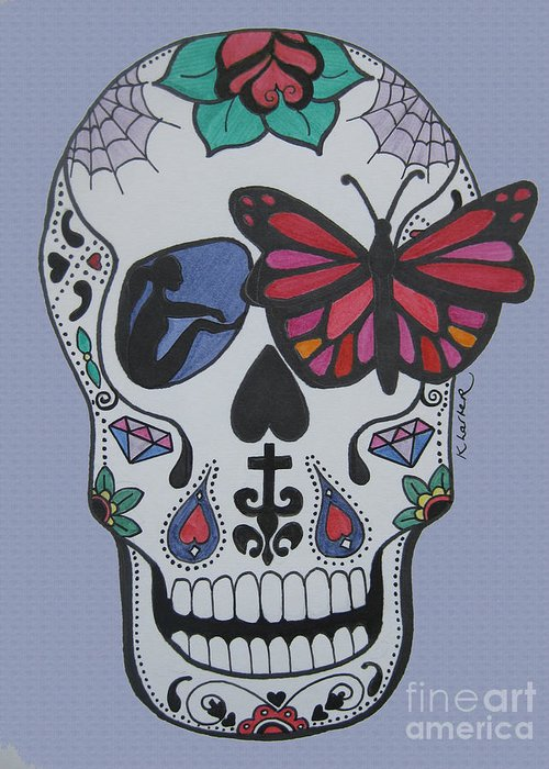 Sugarskull Greeting Card featuring the drawing Sugar Candy Skull Blue by Karen Larter