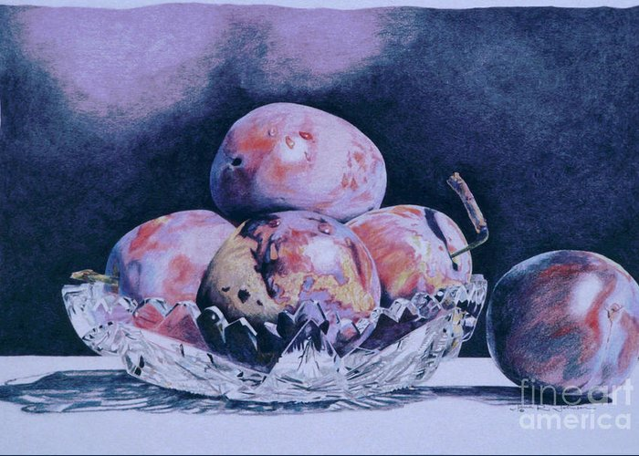Plums Greeting Card featuring the painting Sugar Plums by Jana R Johnson