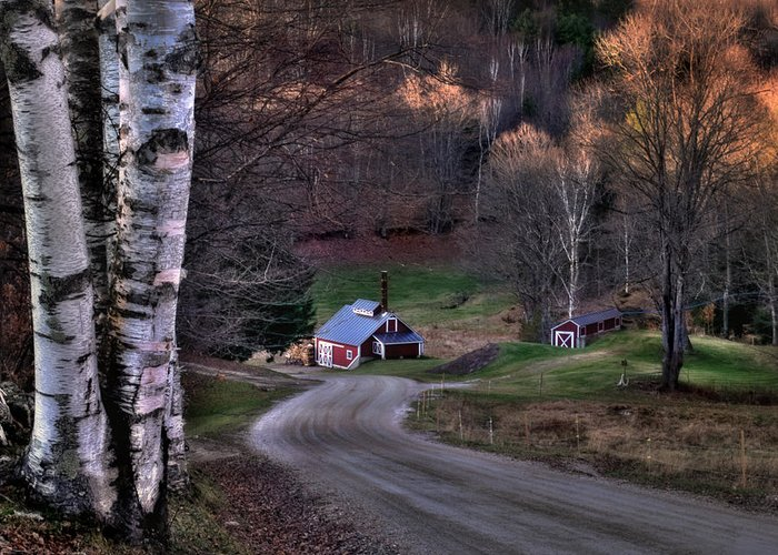 Scenic Landscape Greeting Card featuring the photograph Sugar Shack - Reading Vermont by Thomas Schoeller