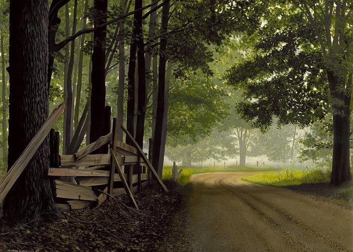 Country Road Greeting Card featuring the painting Sugarbush Road by Michael Swanson