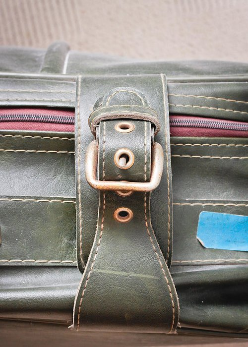 Accessories Greeting Card featuring the photograph Suitcase Buckle by Tom Gowanlock