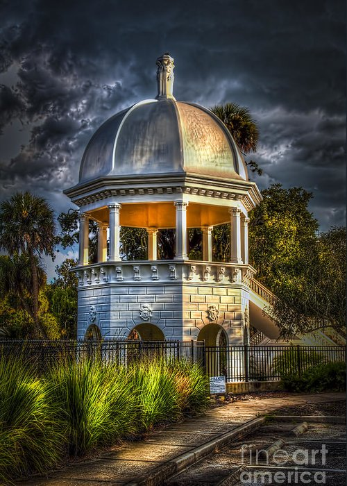 Gazebo In Sulfur Springs Greeting Card featuring the photograph Sulfur Springs Gazebo by Marvin Spates