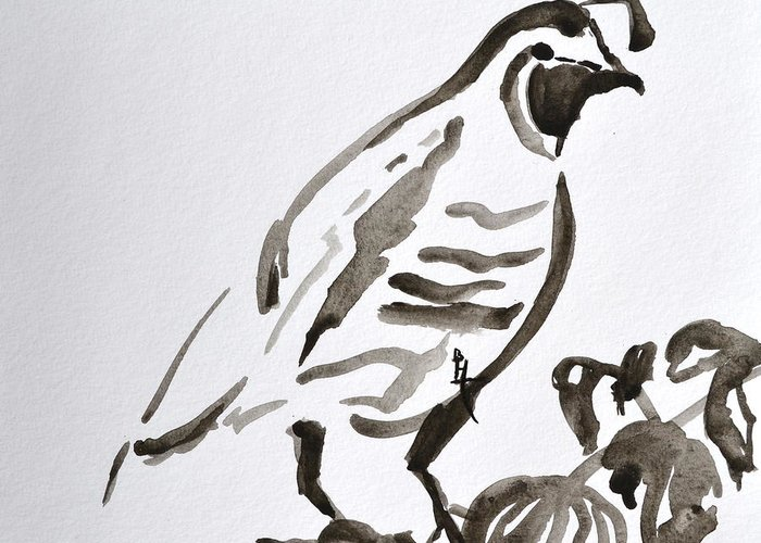 Quail Greeting Card featuring the painting Sumi-e Quail by Beverley Harper Tinsley