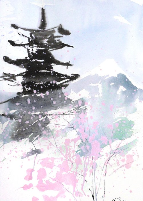 Woods Greeting Card featuring the painting sumie No.10 Pagoda and Mt.Fuji by Sumiyo Toribe