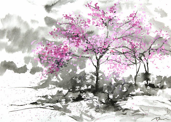 Woods Greeting Card featuring the painting Sumie No.2 Plum Blossoms by Sumiyo Toribe