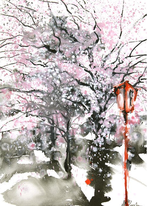 Woods Greeting Card featuring the painting Sumie No.3 Cherry Blossoms by Sumiyo Toribe