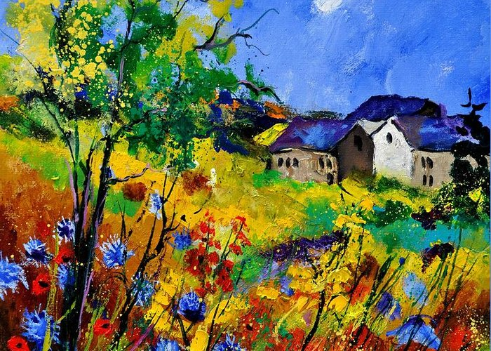 Landscape Greeting Card featuring the painting Summer 673180 by Pol Ledent