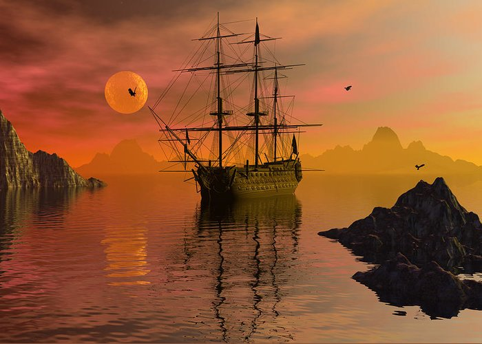 Bryce Greeting Card featuring the digital art Summer Anchorage by Claude McCoy