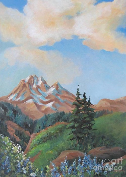Landscape Greeting Card featuring the painting Summer At Kananaskis 2 by Marta Styk