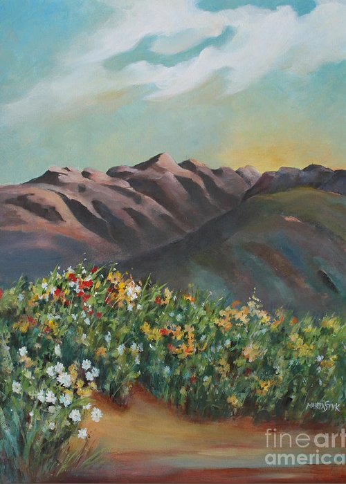 Landscape Greeting Card featuring the painting Summer At Kananaskis by Marta Styk