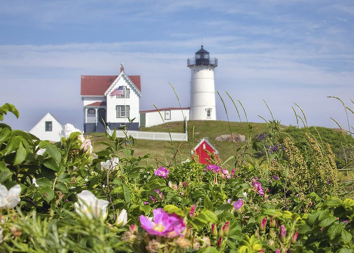 Summer At Nubble Light Greeting Card featuring the photograph Summer At Nubble Light by Eric Gendron