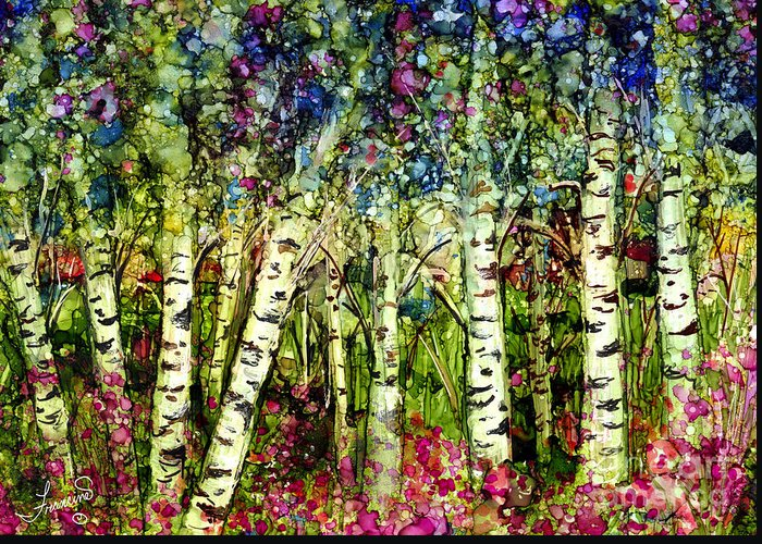 Trees Greeting Card featuring the painting Summer Birch by Francine Dufour Jones