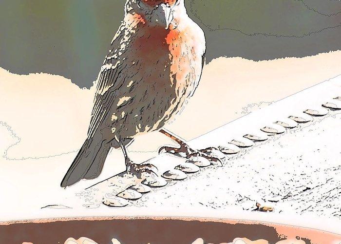 Zebra Finch Greeting Card featuring the digital art Summer Bird by Artist and Photographer Laura Wrede