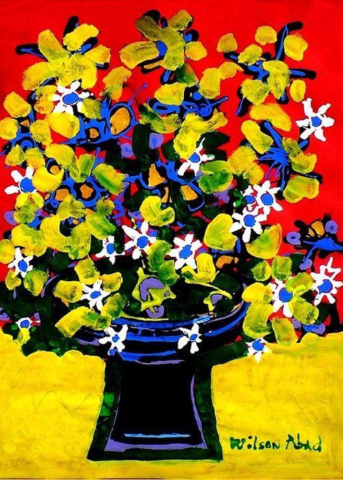 Summer Greeting Card featuring the painting Summer Bouquet by Wilson Abad