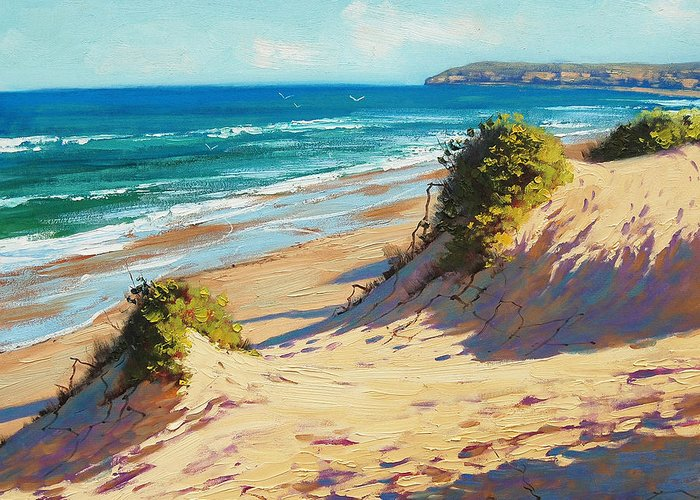 Seascape Greeting Card featuring the painting Summer Day The Entrance by Graham Gercken