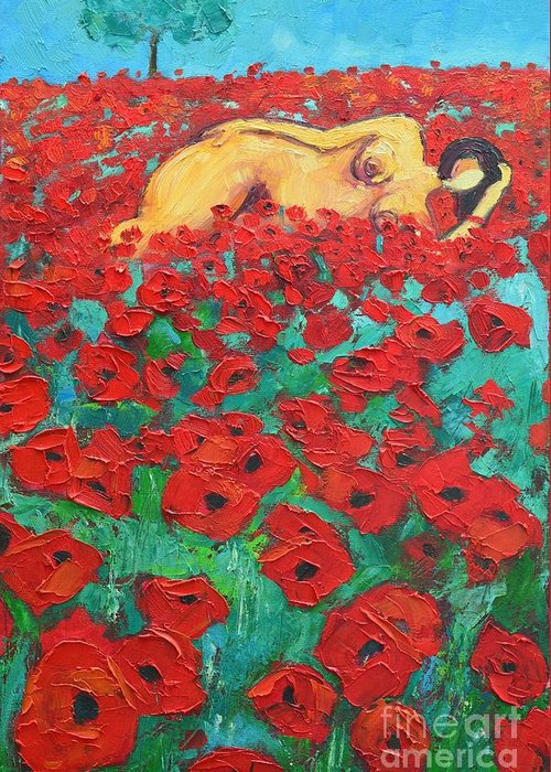 Nude Greeting Card featuring the painting Summer Dream 2 by Ana Maria Edulescu