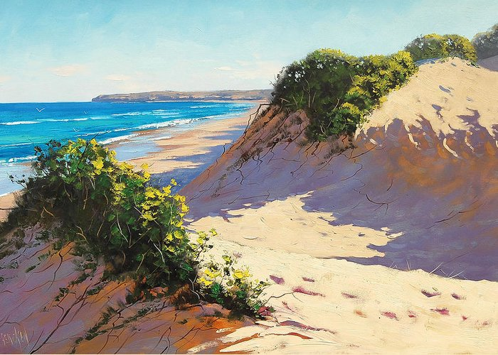 Seascape Greeting Card featuring the painting Summer Dunes by Graham Gercken