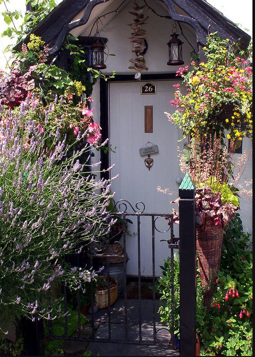 Clovelly Greeting Card featuring the photograph Summer Flowers Clovelly Devon by Rodger Insh