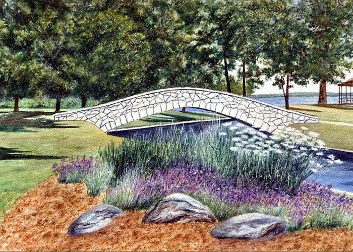Landscape Greeting Card featuring the painting Summer In Doty Park by Thomas Kuchenbecker