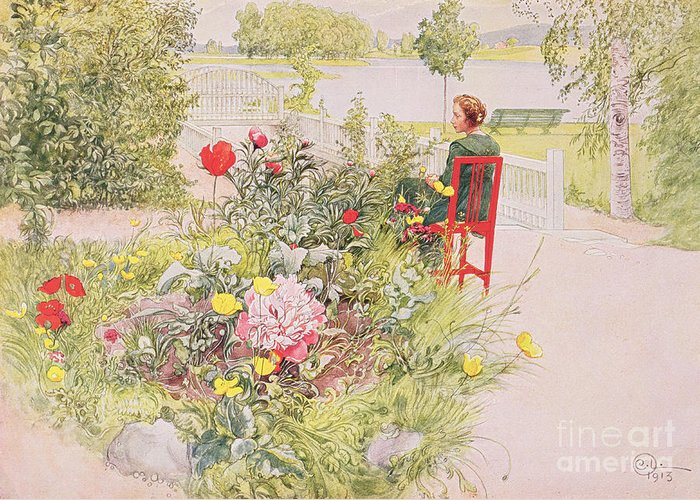 Landscape; Park; Garden; Female; Seated Greeting Card featuring the painting Summer In Sundborn by Carl Larsson