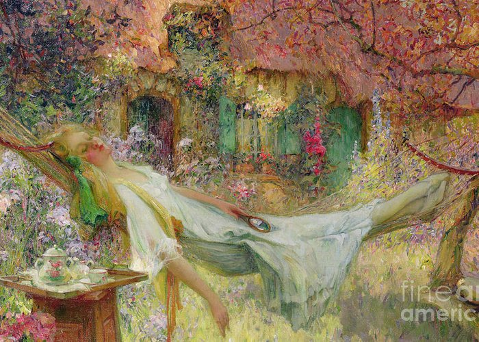 Hammock Greeting Card featuring the painting Summer In The Garden by Darien Henri-Gaston