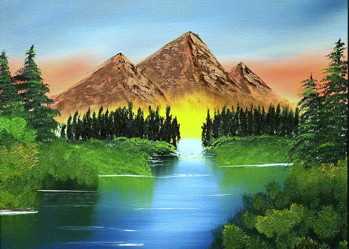 Landscape Greeting Card featuring the painting Summer Lake Sunrise by Ryan Heath