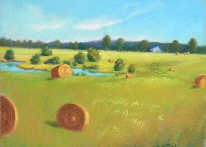 Summer Landscape Greeting Card featuring the painting Summer Meadow by Celine K Yong