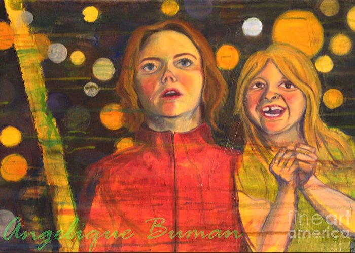 Child Greeting Card featuring the painting Summer Memoirs by Angelique Bowman