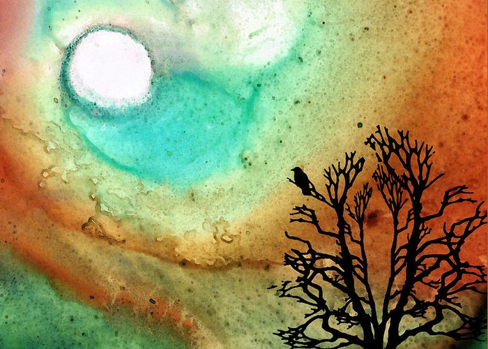 Moon Greeting Card featuring the painting Summer Moon - Landscape Art By Sharon Cummings by Sharon Cummings