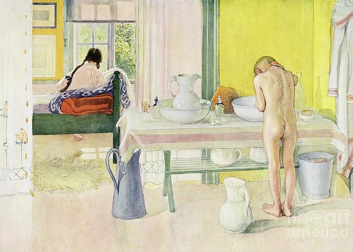 Washing; Nude; Child; Bedroom; Jug And Bowl Greeting Card featuring the painting Summer Morning Pub In Lasst Licht Hinin Let In More Light by Carl Larsson