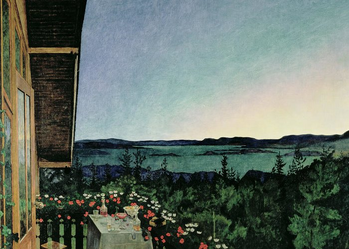 Balcony; Lake; Landscape; Al Fresco; Evening; Twilight; Romantic; Meal; Dinner; Scandinavia Greeting Card featuring the painting Summer Night by Harald Oscar Sohlberg