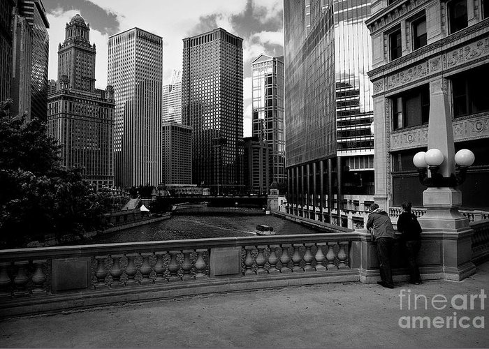 Usa Greeting Card featuring the photograph Summer On The Chicago River - Black And White by Frank J Casella