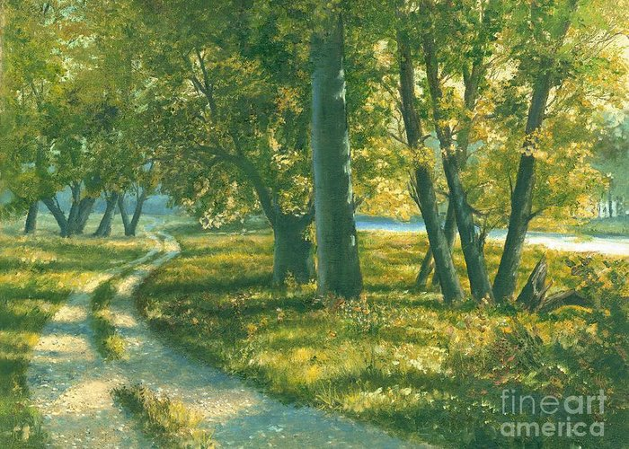 Landscape Trees Greeting Card featuring the painting Summer Place by Michael Swanson