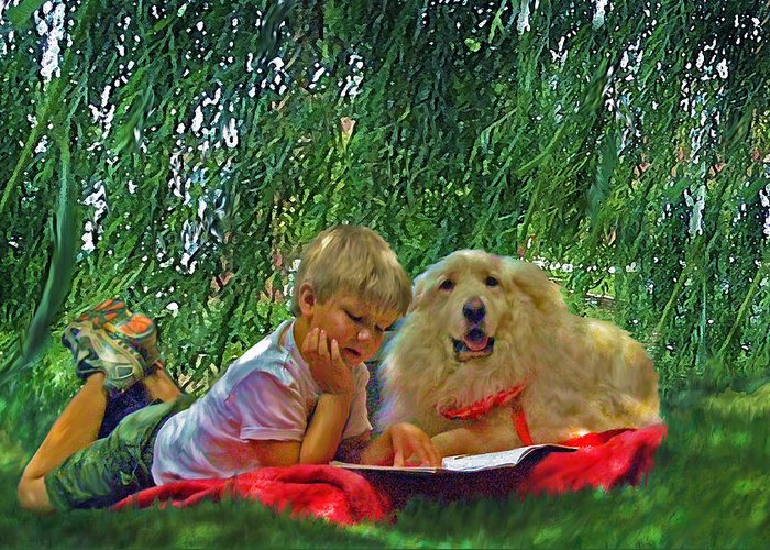 Jane Schnetlage Greeting Card featuring the painting Summer Reading by Jane Schnetlage