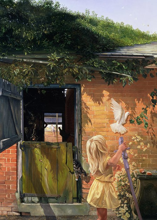 Dove; Michaelmas Daisy; Barn Door; Ivy Greeting Card featuring the painting Summer Reflection by Timothy Easton