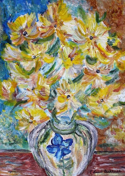 Flowers Greeting Card featuring the painting Summer Reflections by Louise Burkhardt