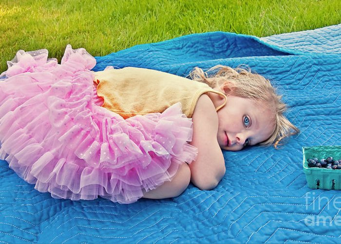 3 Year Old Girl Greeting Card featuring the photograph Summer Rest With Blueberries by Valerie Garner