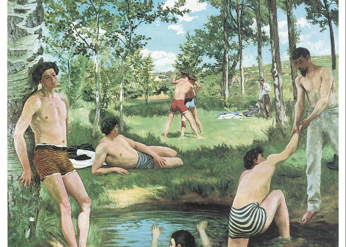 Frederic Bazille Greeting Card featuring the painting Summer Scene by Frederic Bazille