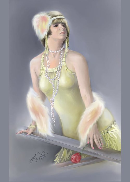 Flapper Greeting Card featuring the painting Summer Siren by Liz Viztes