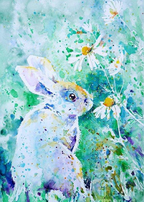 Rabbit Greeting Card featuring the painting Summer Smells by Zaira Dzhaubaeva