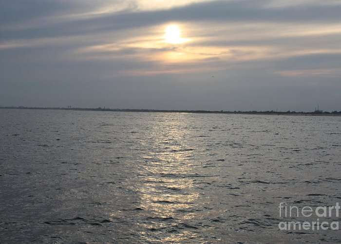 Summer Sunset Over Freeport Greeting Card featuring the photograph Summer Sunset Over Freeport by John Telfer