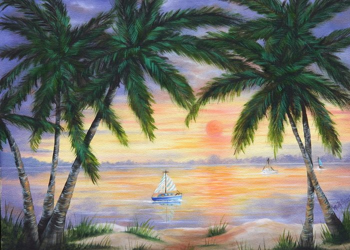 Seascape Greeting Card featuring the painting Summer Sunset by Ruth Bares