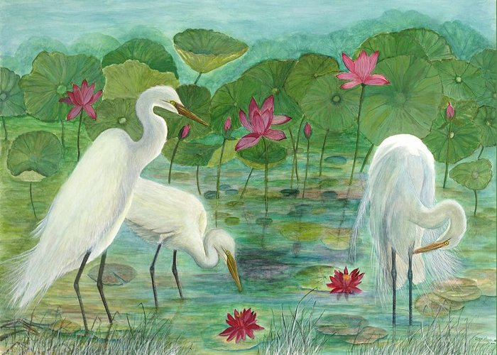 Lily Pads; Egrets; Low Country Greeting Card featuring the painting Summer Trilogy by Ben Kiger