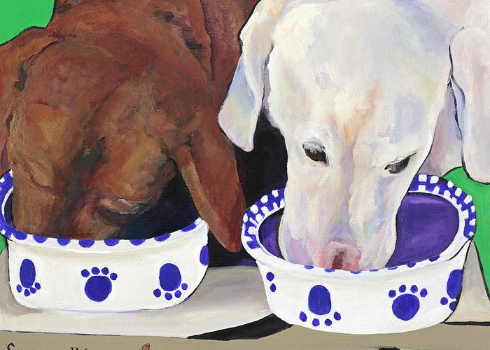 Pat Saunders-white Greeting Card featuring the painting Summer Wag Ale by Pat Saunders-White