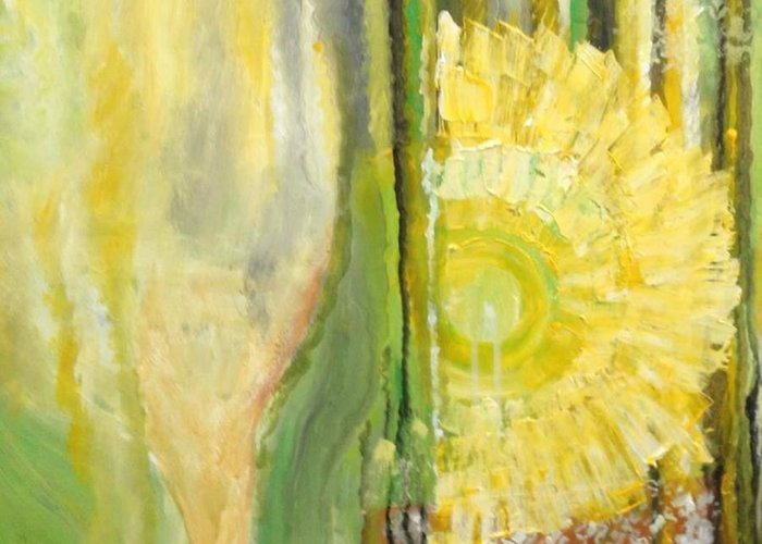 Bright Wine Yellow Summer Flower Glass Greeting Card featuring the painting Summer wine by Carol P Kingsley